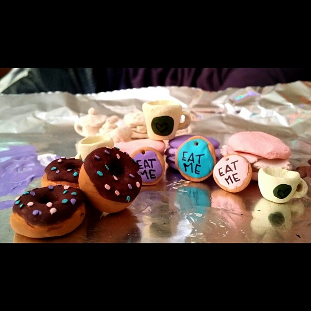 Baby doughnuts, cookies, macaroons, and coffee cups... Little pendants mace of #clay #jewelry #doughnut #cake #cupcake #macaroons #handmade #homemade #love
