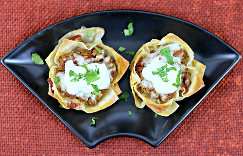 Muffin tin taco cups top close | by Sweet Beginnings Blog