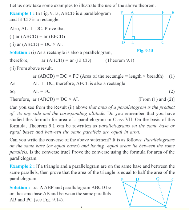 NCERT Class IX Maths Chapter 9 Areas of Parallelograms and Triangles