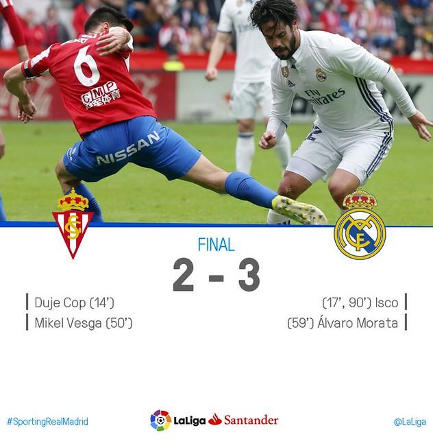 La Liga (Jornada 32): Sporting de Gijón 2 - Real Madrid 3