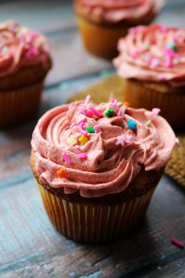 Buttery Vanilla Cupcakes with Raspberry Buttercream