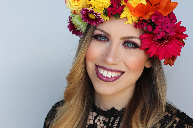 Colorful Festival Style Makeup Tutorial Flower Crown Coachella