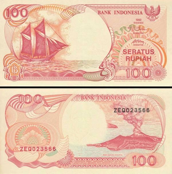 100 Rupií Indonézia 1992/1993, P127b