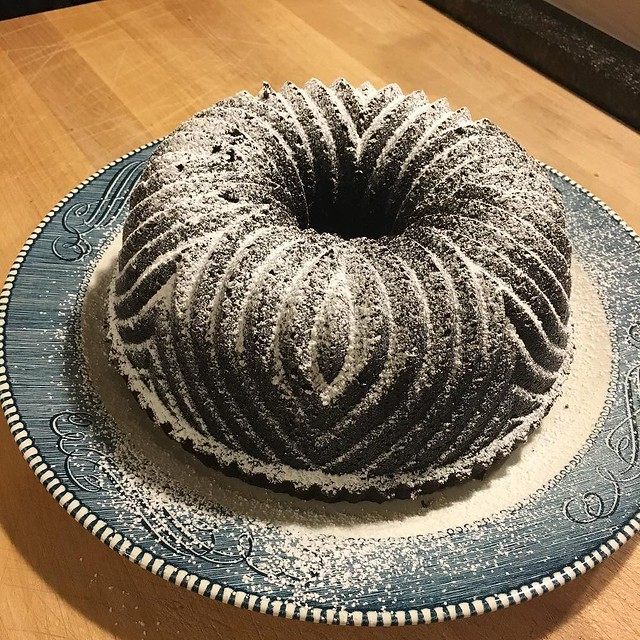 Chocolate bundt for dinner guest tonight. Plus two bottle of wine 🍷 🍷🍷🍷🍷🍷🍷🍷🍷
