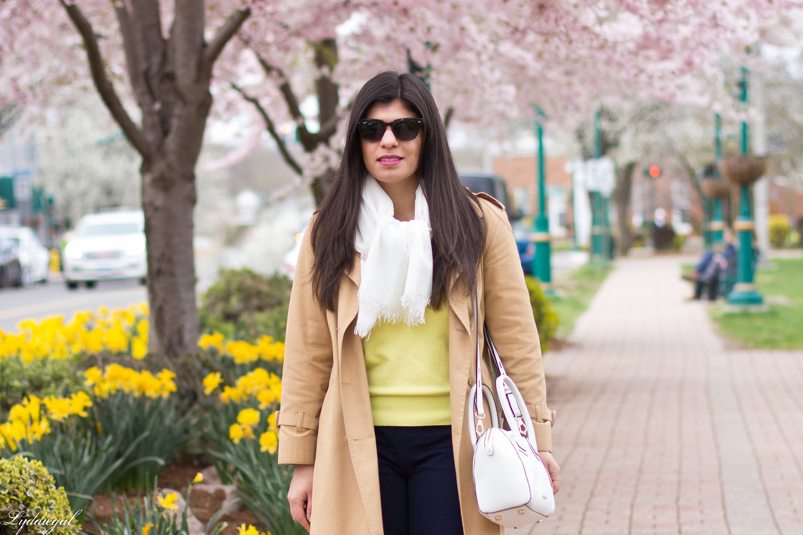 yellow sweater, navy pants, trench coat, toe cap pumps-2.jpg