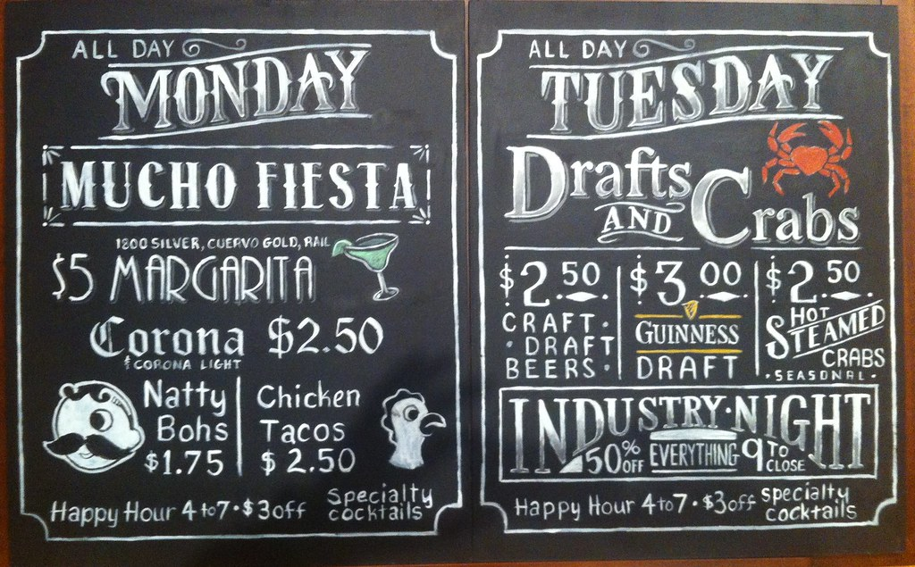 Riptide Chalkboard Signs monday - tuesday | 2 of 6 daily spe ...