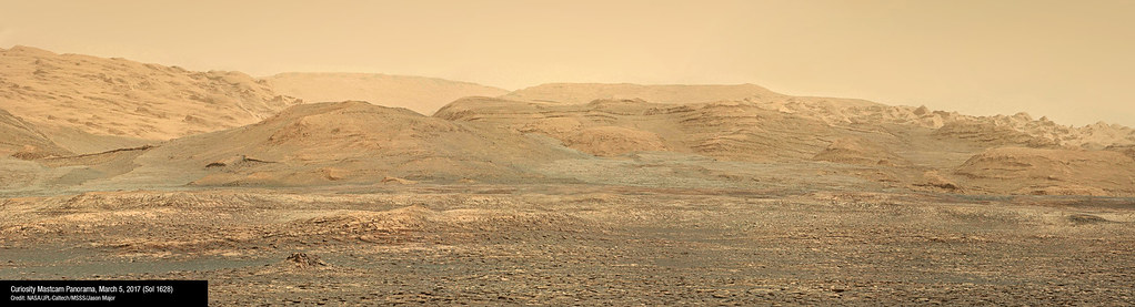 Curiosity Panorama From Bagnold Dunes Made From 5 Images