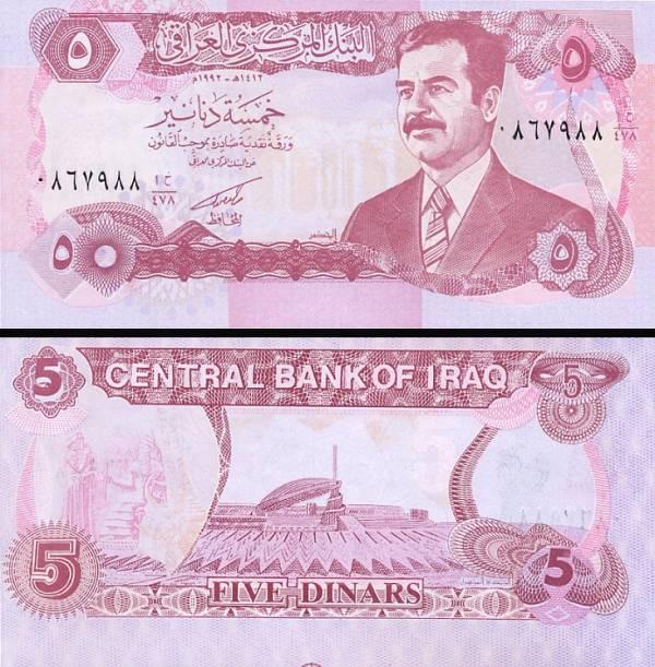 5 Dinár Irak 1992, P80 UNC S.Hussein