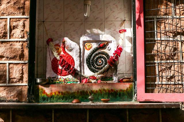 Small shrine of snakes, Jodhpur, India ジョードプル 蛇の像を祀った祠