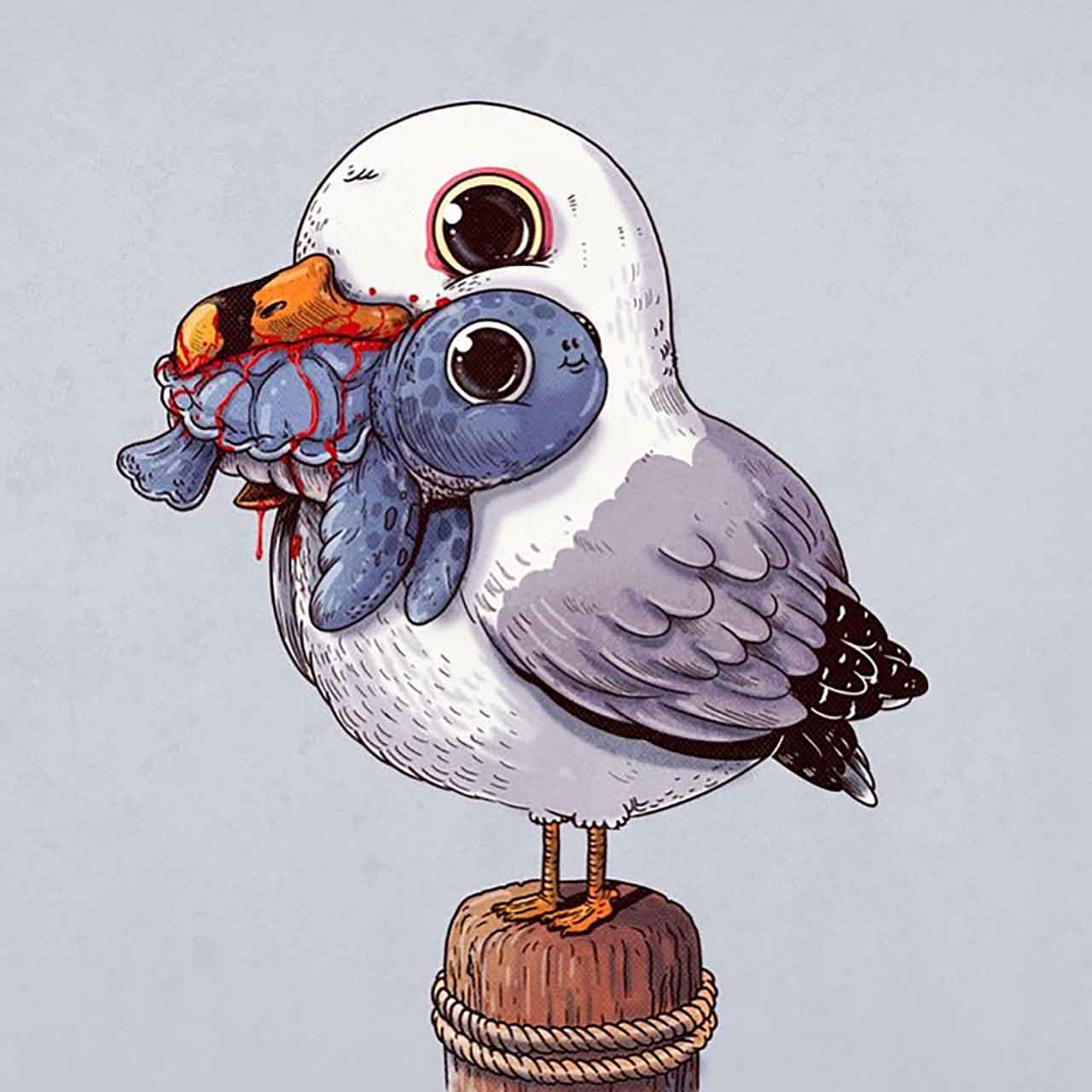 "Artist Creates Extremely Adorable ""Predator & Prey"" Illustrations #3: Seagull & Sea Turtle"