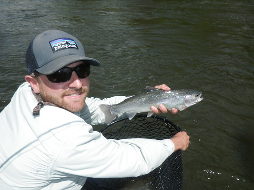 Northern california fly fishing guide tom steele poses a t for Trout fishing northern california