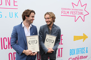 UWantMeToKillHim actors Jamie Blackley and Toby Regbo outside the Filmhouse after the Awards ceremony with their Award for Best Performance in a British Feature Film. | by Edinburgh International Film Festival
