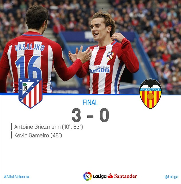 La Liga (Jornada 26): Atlético de Madrid 3 - Valencia CF 0