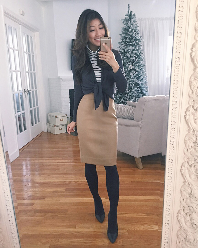 winter business casual work outfit pencil skirt