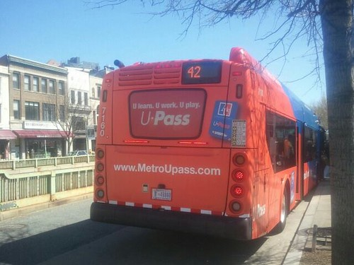 WMATA bus livery promoting the American University student transit pass program