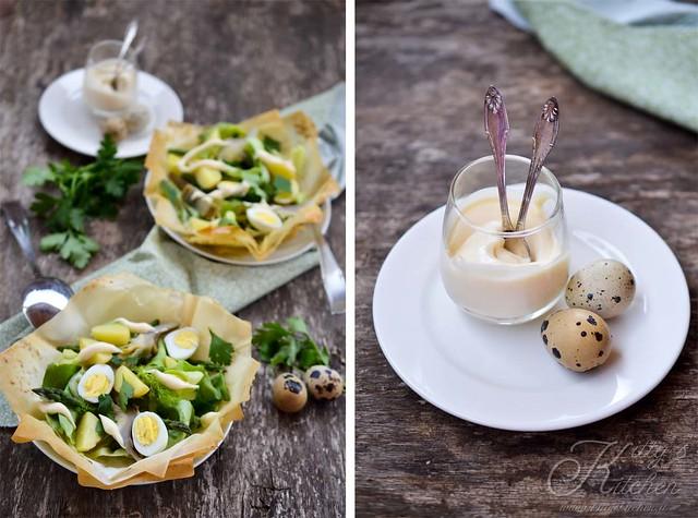 insalata di patate novelle uova di quagli e asparagi