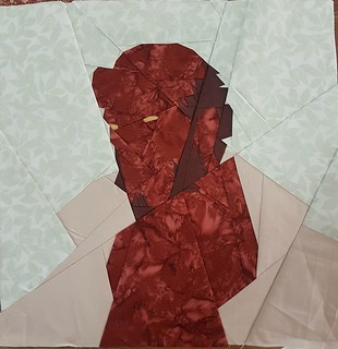 Paper pieced superhero block HELLBOY. Pattern on fandominstitches.com Pieced by Hannah Hughes