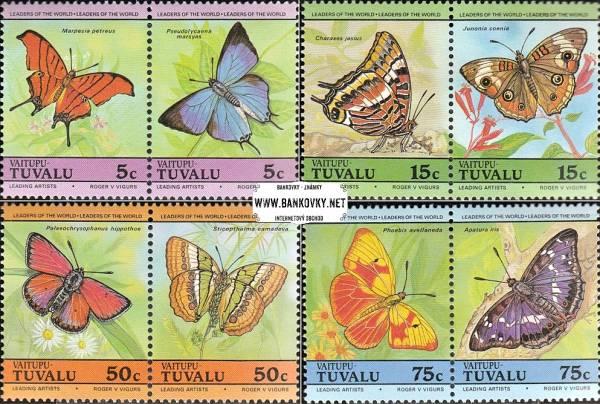 Známky Tuvalu Vaitipu Motýle, nerazítkovaná séria