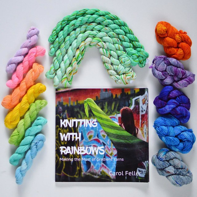 Gradient yarns deserve special designs. Trying to decide from @feller.carol 's book #knittingwithrainbows. Left rainbow mini skein set is from @folkestoneharbouryarn, top green gradiwnt is from @easyknitter, right minis are from @smudgeyarns #gradient #gr