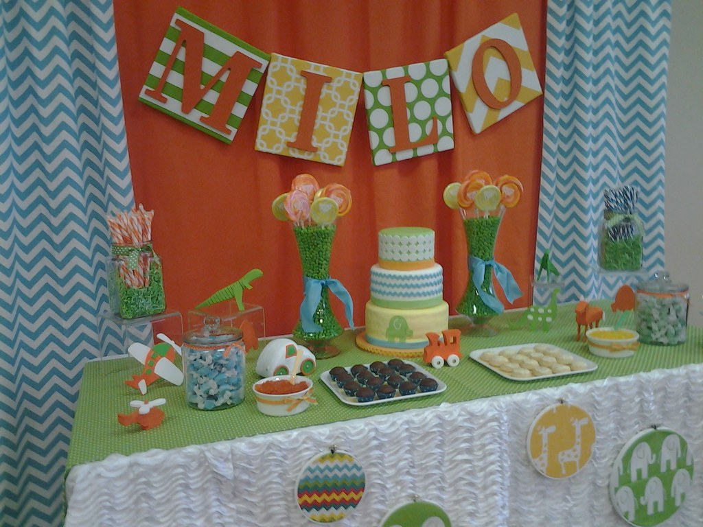 Orange, Blue and Green Baby Shower; Cara's Cakes and Scape