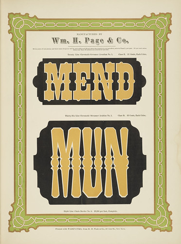 Specimens of chromatic wood type, borders 1874 - Columbia U (Mend + Mun) Streamer Arcadian + Arabian type | by peacay