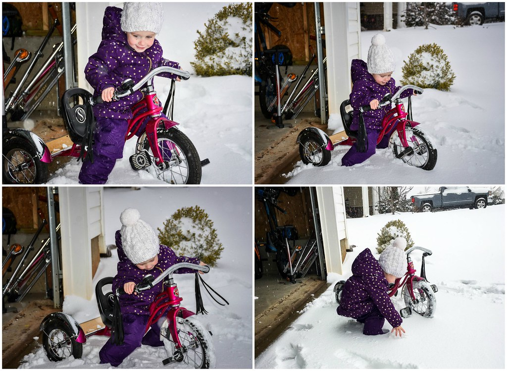 trying to ride her trike