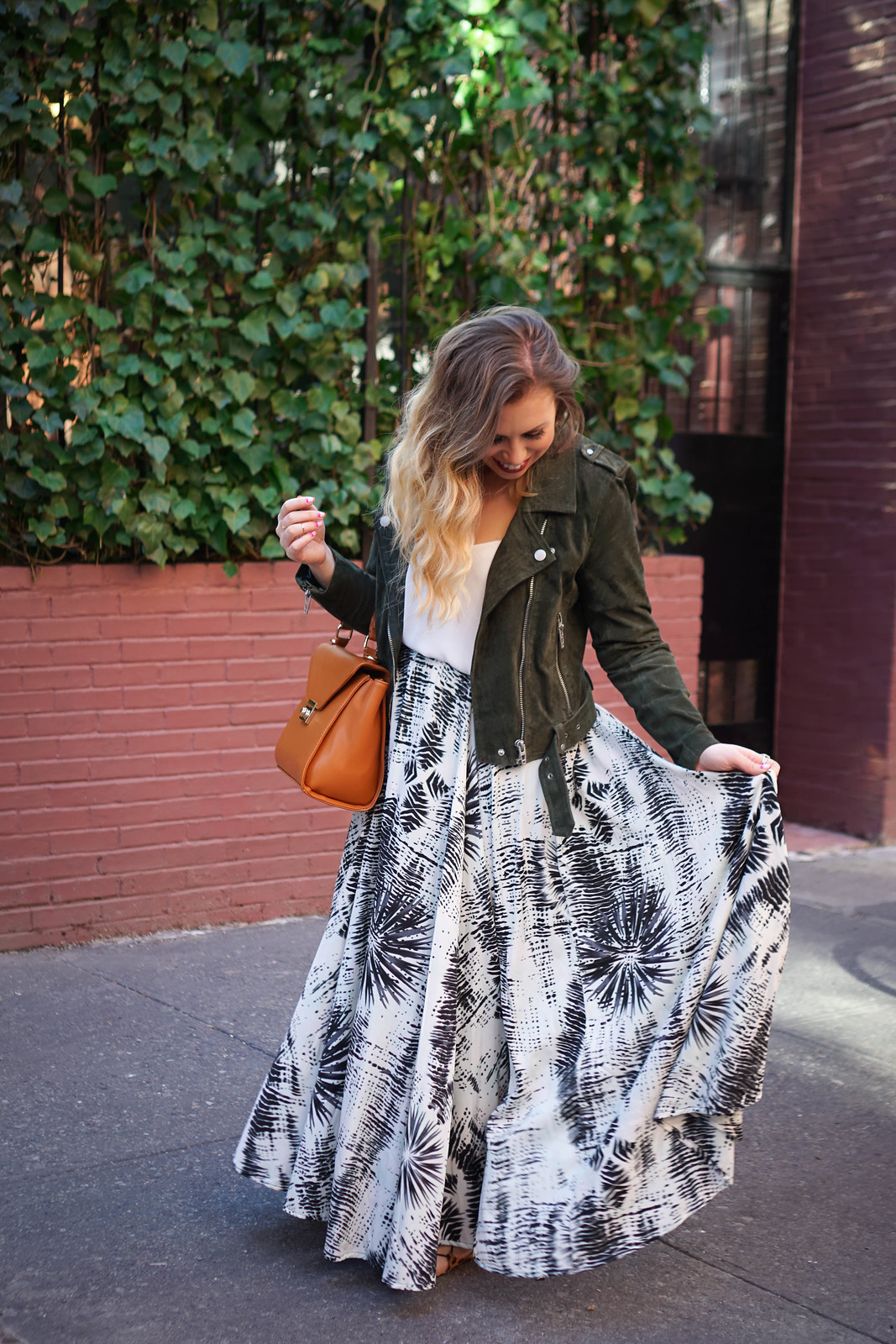 Printed Maxi Skirt | Olive Suede Moto Jacket | Spring NYC Outfit