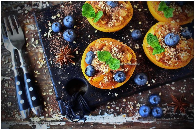 ...Dessert salad yellow plum nuts and bitter chocolate