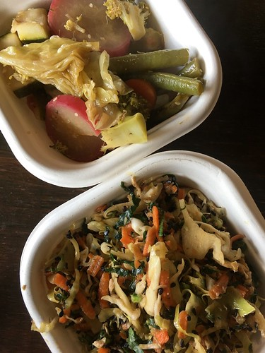 Steamed vegetables, miso chicken slaw