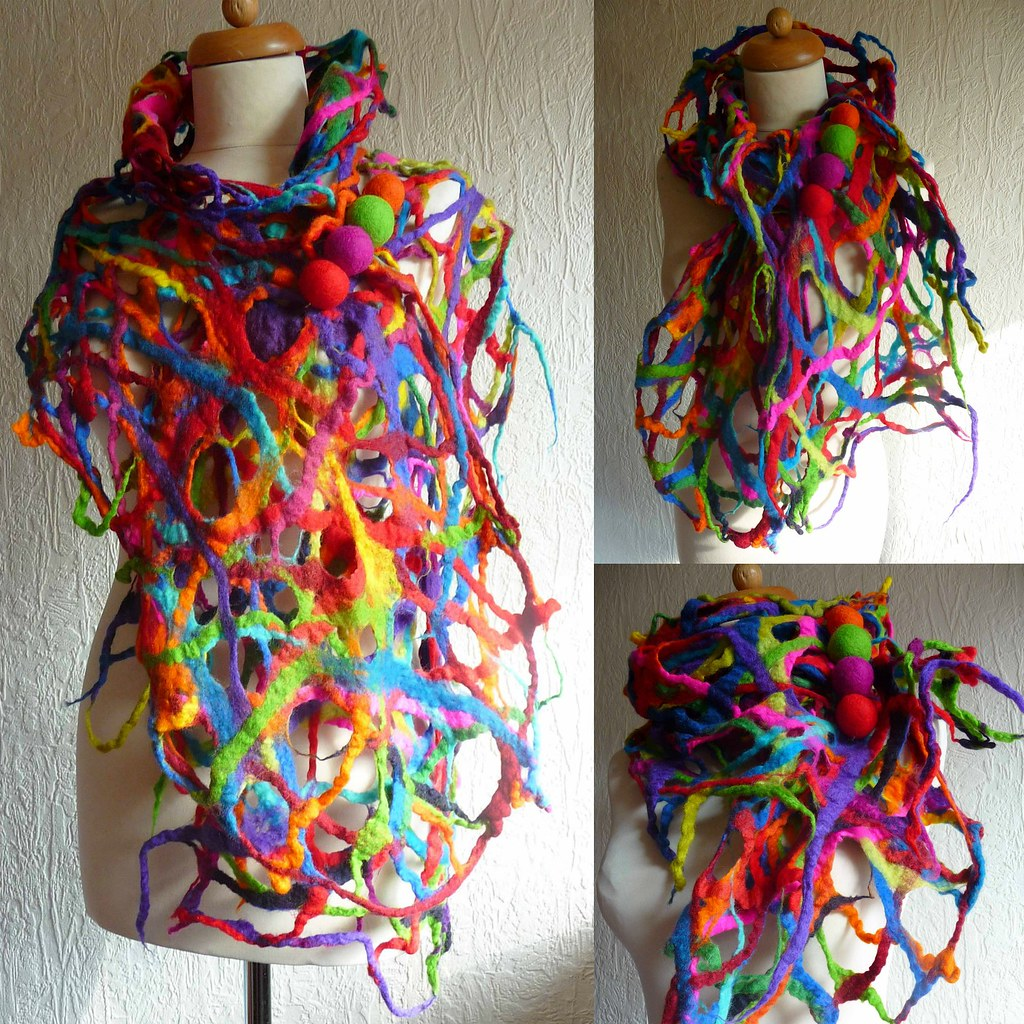 felted lace scarf felt lace wrap shal pin brooch handmade