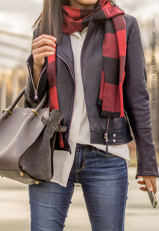 red buffalo check scarf, black leather jacket, white silk button up shirt, gray tote, skinny jeans
