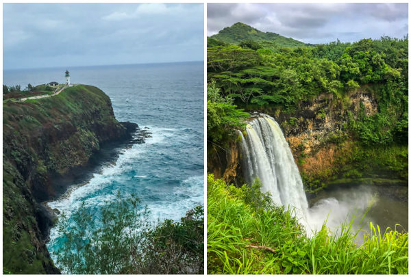 Waterfall and Lighthouse Kauai Hawaii