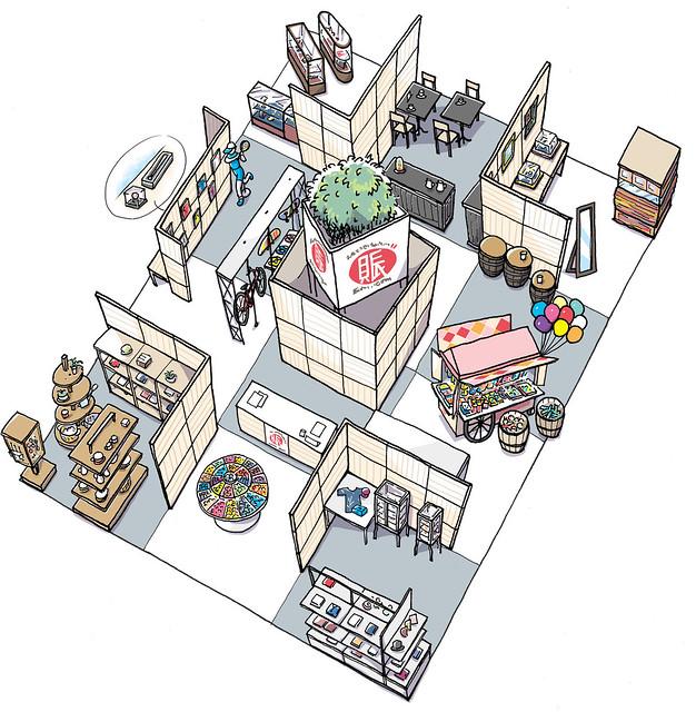 賑わい創りの道具や「ジャパンショップ2017パンフレット」表紙イラスト