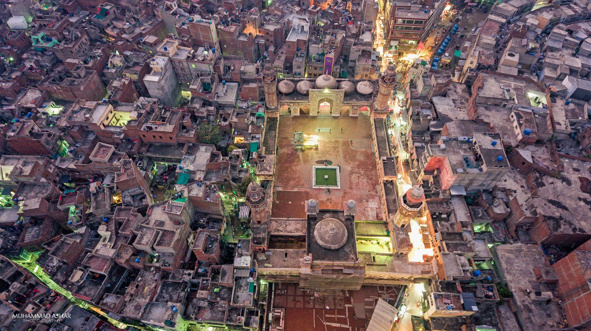 Bird's Eye View of the Wazir Khan Mosque, Walled City of
