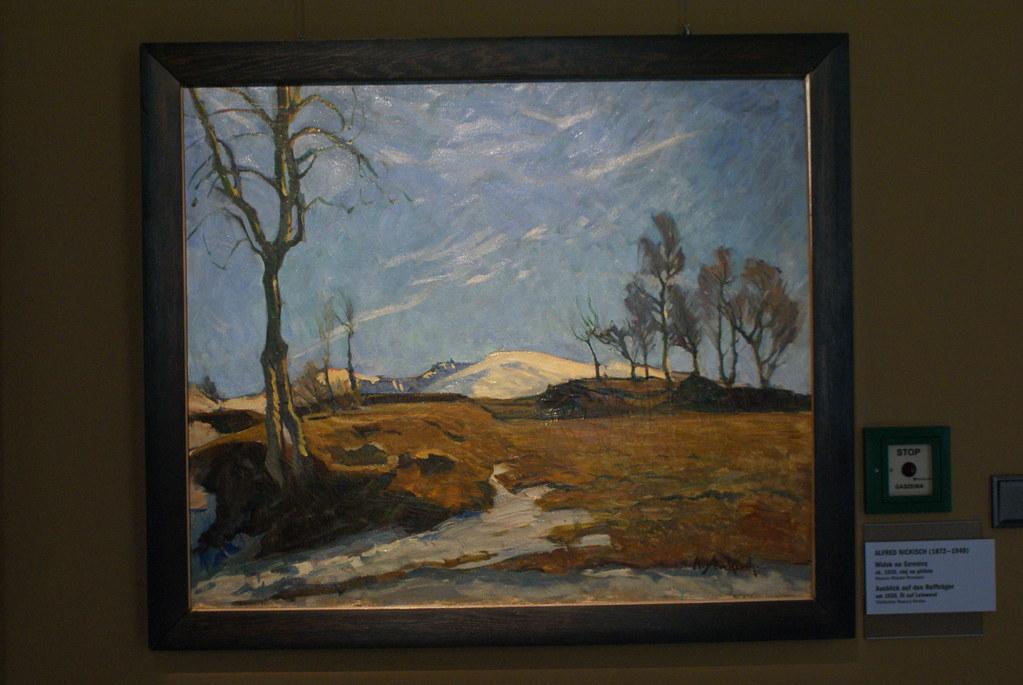 Alfred Nickish : Vue sur la Szrenice (petite montagne) encadrée de d'arbres (1920).