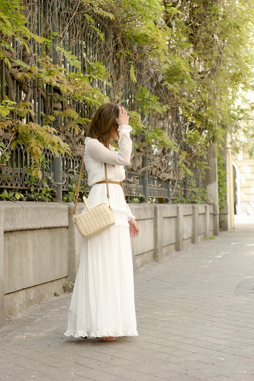 white maxi dress Subtle golden stripes wicker bag sandals céline sunnies spring outfit 03