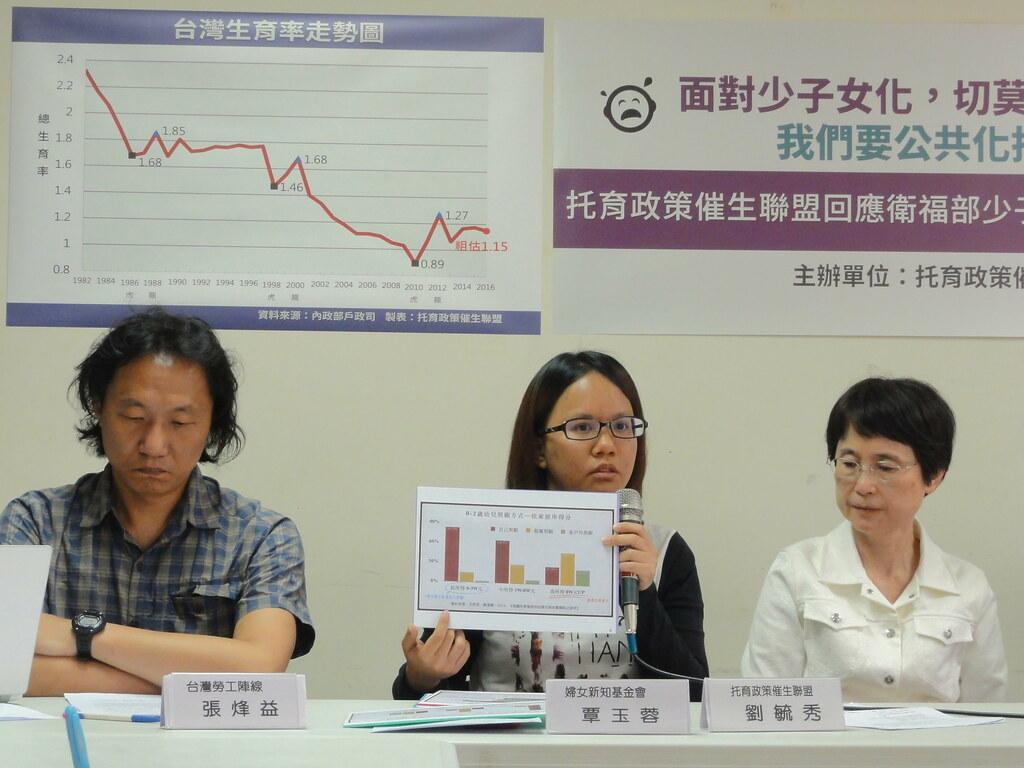 托育政策催生聯盟今召開記者會回應衛服部的托育政策。(攝影:張智琦)