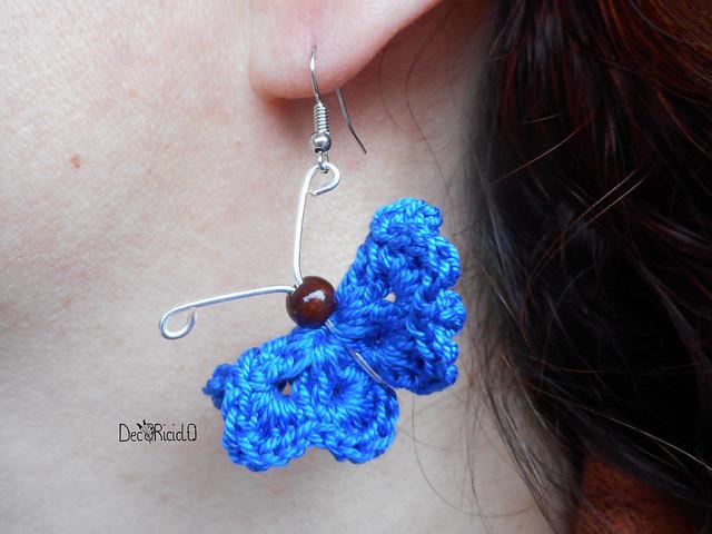 orecchini farfalle cotone, filo argento e perla di legno 5