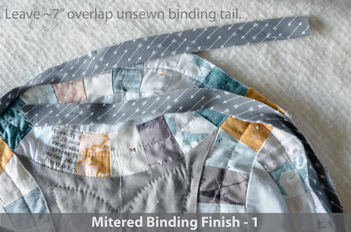 "DWR:: Mitered Binding 1: Leave 7"" binding tails from start and end"