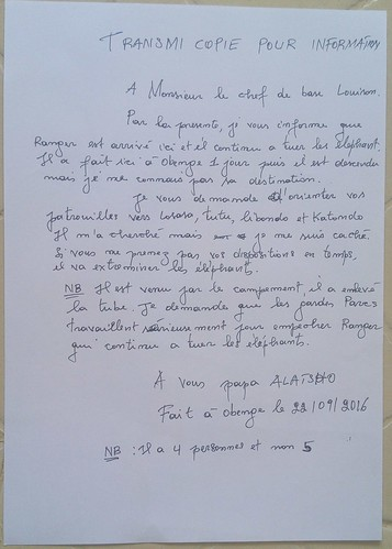 Letter from vieux Alatsho