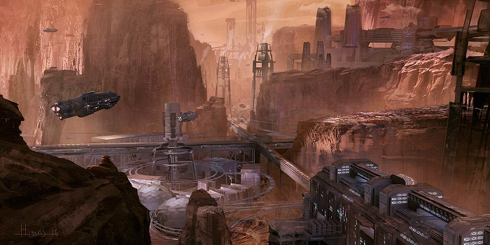 Mars colony at Valles Marineris by Brian Higgins
