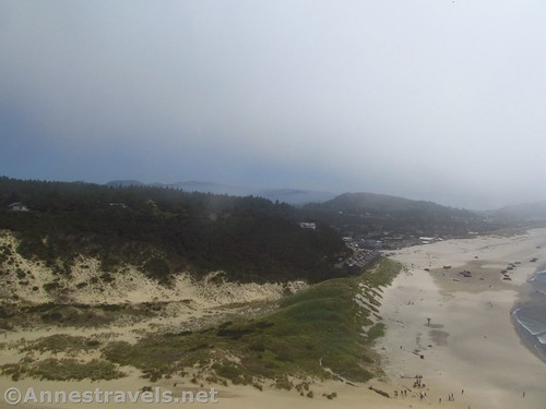 Looking down on the beach from the top of the dune at Cape Kiwanda, Oregon