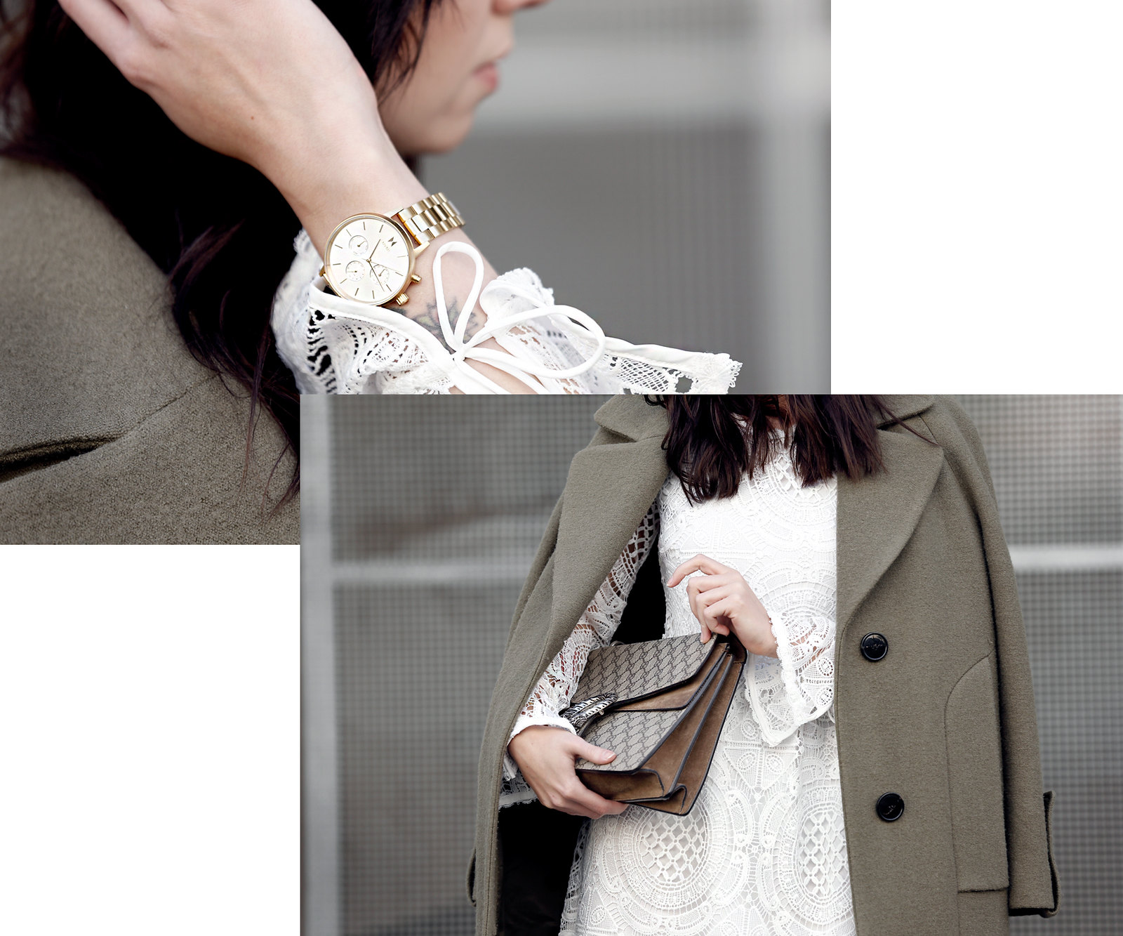 about you coat khaki wool white lace dress vila sneakers sacha gucci dionysus bag mvmt watch gold ootd styling lookbook cats & dogs modeblog ricarda schernus fashionblogger berlin düsseldorf 2