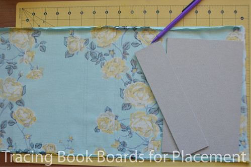21. Trace the book board piece placement onto book cloth