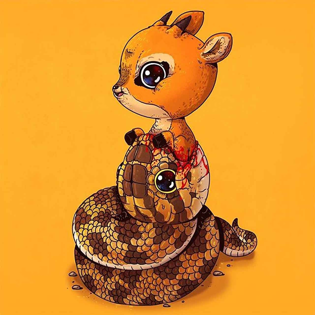 "Artist Creates Extremely Adorable ""Predator & Prey"" Illustrations #7: Python & Antelope"