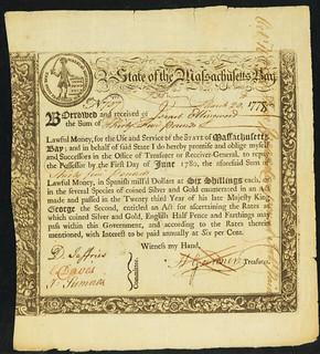 Massachusetts 6% Treasury Loan Certificate front