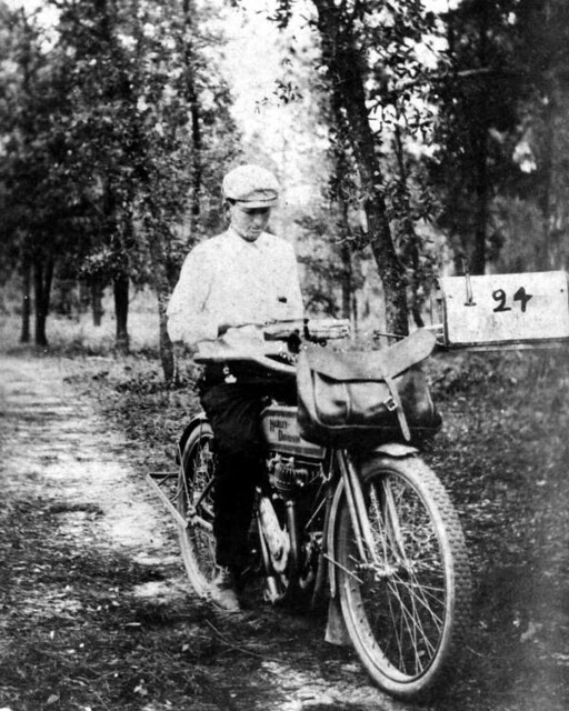 Rural mail carrier Claude G. Varn on a Harley Davidson ...