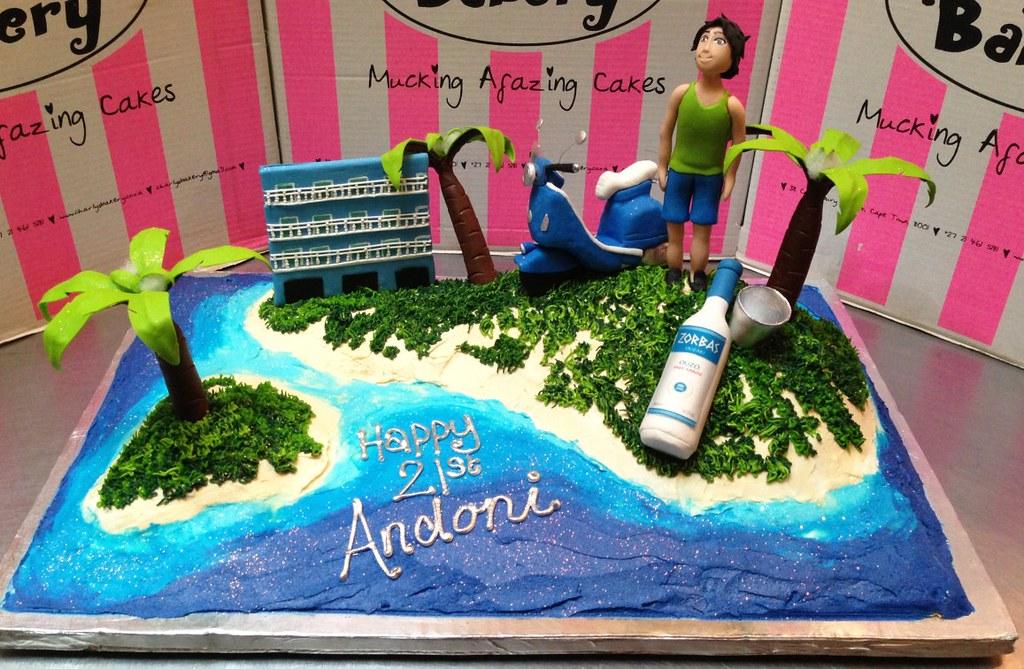 Greek Island Themed Cake With 3d Scooter 3d Vodka Bottle Flickr