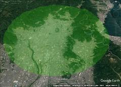 Kyoto 20 kilometer diameter