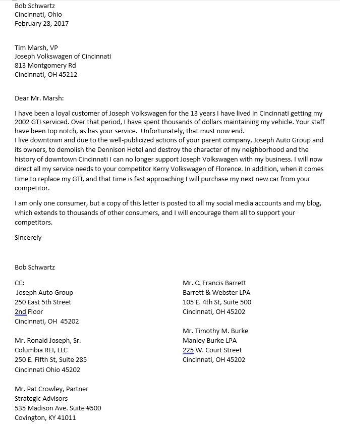 Joseph Auto Letter